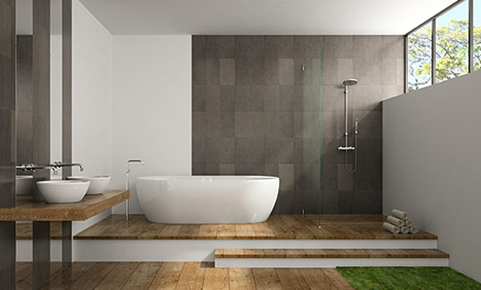 Bathroom interior with modern flooring